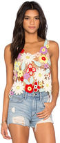 Wildfox Couture Flower Crochet Tank