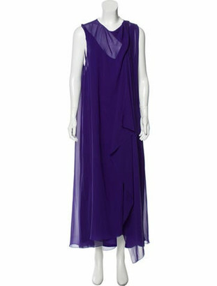 Lanvin Silk Draped Dress Violet