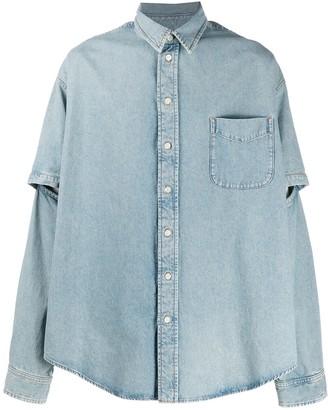 Balenciaga Double Split-Sleeve Denim Shirt
