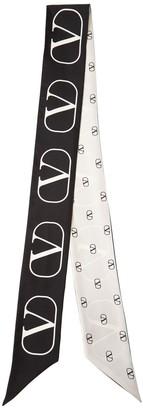Valentino All Over Logo Silk Bando Scarf