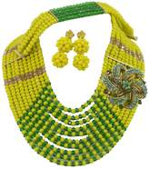 Africanbeads 12Rows 6mm Yellow and Green Nigerian Bridal Crystal Beads Necklace,Bridesmaid Jewelry Set