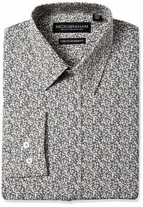 Nick Graham Men's Contrast Pattern Stretch Cotton Blend Dress Shirt