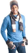 Muk Luks Men's Ombre Knit Scarf, Beanie And Flip Mittens Set