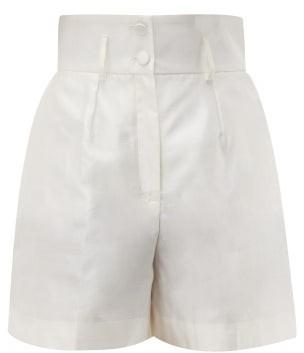 Dolce & Gabbana Micado Silk-shantung Shorts - Cream