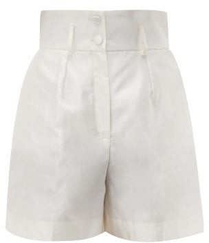Dolce & Gabbana Micado Silk-shantung Shorts - Womens - Cream
