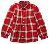 Ralph Lauren Girls' Twill Plaid Shirt - Sizes 2-6X