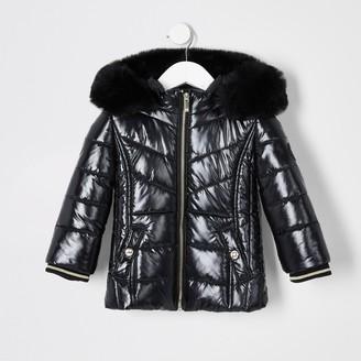 River Island Mini girls Black faux fur trim padded coat
