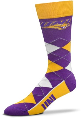 For Bare Feet Adult Northern Iowa Panthers Argyle Crew Socks