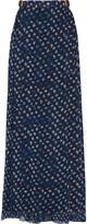 Diane von Furstenberg Bethune leather-trimmed floral-print silk-georgette maxi skirt