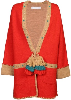 Red Knit Long Coat Alice
