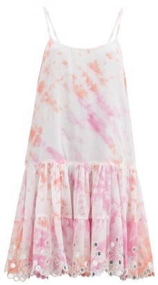 Juliet Dunn Shisha Mirror-embroidered Tie-dye Cotton Dress - Pink White