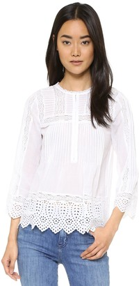 Rebecca Taylor Women's Long Sleeve Voile Lace Top