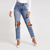 River Island Mid blue ripped Mom jeans