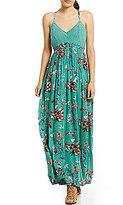 Jessica Simpson Paley Bird Printed Crochet Open Back Maxi Dress