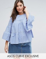 Asos Smock Top with Tiers in Gingham