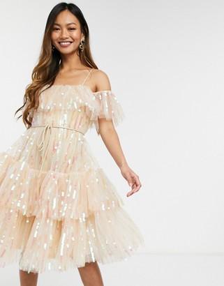 Forever U cold shoulder midi dress with sequins in mink