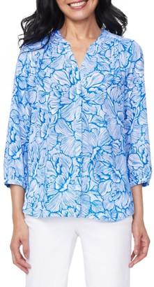 NYDJ Pintuck Blue Floral Print Blouse