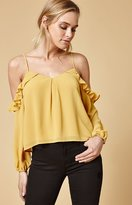 Honey Punch Ruffle Cold Shoulder Top