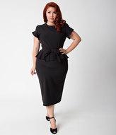 Stop Staring Plus Size 1940s Style Black Peplum Willow Wiggle Dress