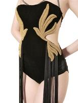 Maria Lucia Hohan Chain Embroidered Velvet Bodysuit
