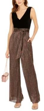 Vince Camuto Velvet & Glitter-Striped Jumpsuit