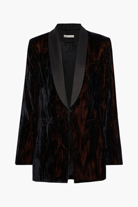 Alice + Olivia Lola Satin-trimmed Metallic Crushed-velvet Blazer