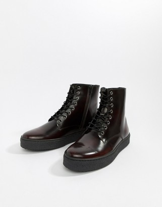 Zign Shoes cupsole lace up boots in burgundy high shine-Red