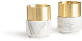 And Jacob Brass Candle Holders White Marble