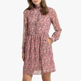 La Redoute Collections Short Floral Print Dress with Long Sleeves and Pockets