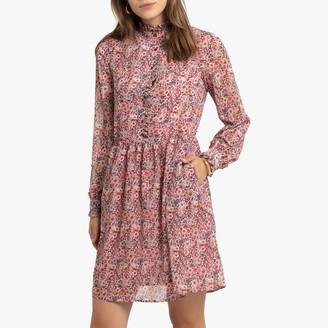 Short Floral Print Dress with Long Sleeves and Pockets