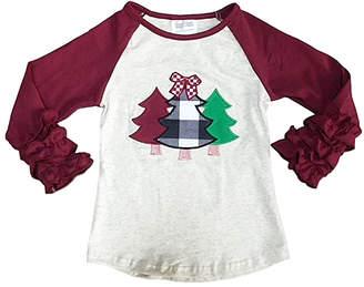 Royal Gem Girls' Tee Shirts Tan - Burgundy & Tan Plaid Tree Ruffle-Sleeve Raglan Tee - Toddler