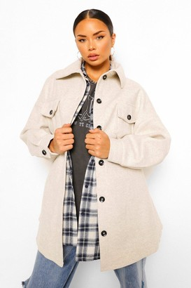 boohoo Oversized Belted Wool Look Shacket