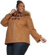 Nine West Plus Size Hooded Faux-Fur Trim Toggle Coat