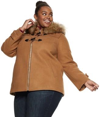 Nine West Plus Size Hooded Faux-Fur Trim Toggle Coat