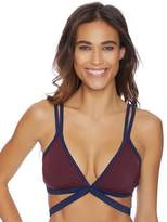 Nautica Soho Colorblock Wrap Front Bikini Top