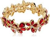 "Anne Klein Holiday Scene"" Gold-Tone Flower Stretch Bracelet"