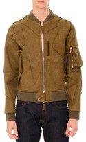 Valentino Cutout Star-Print Wool Bomber Jacket, Olive