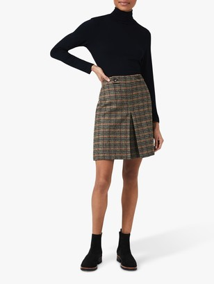 Hobbs Genevieve Check A-Line Wool Skirt, Camel/Multi