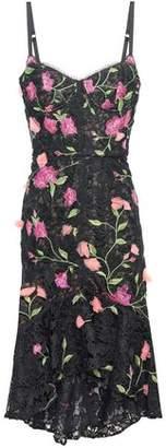 Marchesa Floral-appliqued Grosgrain-trimmed Guipure Lace Dress