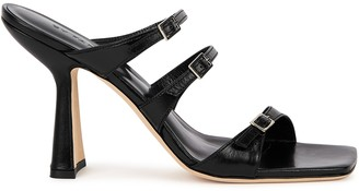 BY FAR Malene 100 black leather sandals