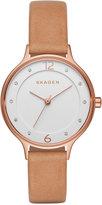 Skagen Women's Light Brown Leather Strap Watch 30mm SKW2585