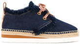 See by Chloe raffia detail denim sneakers - women - Cotton/Raffia/rubber - 39