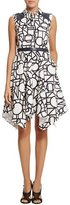 Raoul Piper Graphic-Print Belted Trapeze Dress