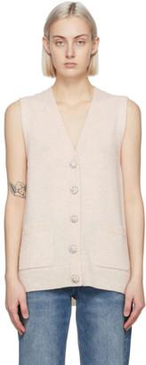 Ganni Beige Cashmere Knit Vest