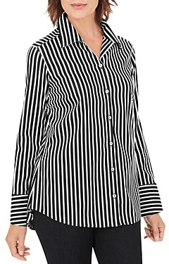 Foxcroft Striped Button Front Shirt