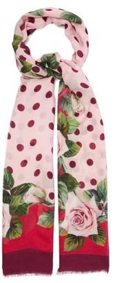 Dolce & Gabbana Floral & Polka-dot Print Modal-blend Scarf - Pink Multi