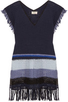 Lemlem Kidan Fringed Crocheted Cotton Dress - Navy