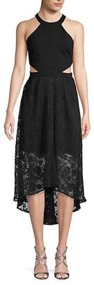 AVEC LES FILLES Side Cutout Lace-Overlay Dress