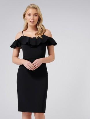 Forever New Tori Petite Ruffle Bardot Pencil Dress - Black - 4