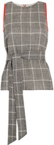 Cefinn - Belted Prince Of Wales Checked Wool-blend Top - Gray